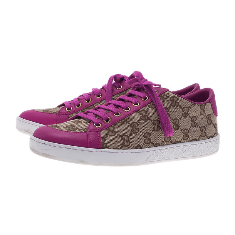 Gucci Pink Leather and Guccissima Canvas Sneakers Size 39.5