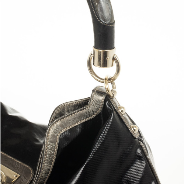 Gucci Black Patent Indy Hobo
