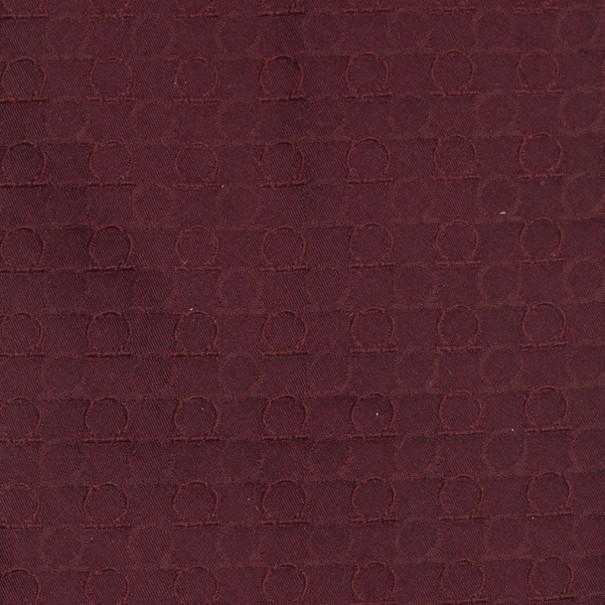 Salvatore Ferragamo Burgundy Gancini Print Silk Tie
