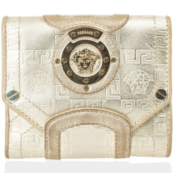 Versace Gold Embossed Leather Wallet