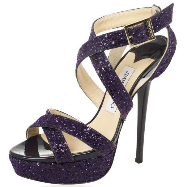 Jimmy Choo Purple Vamp Glitter Crisscross Platform Sandals Size 37