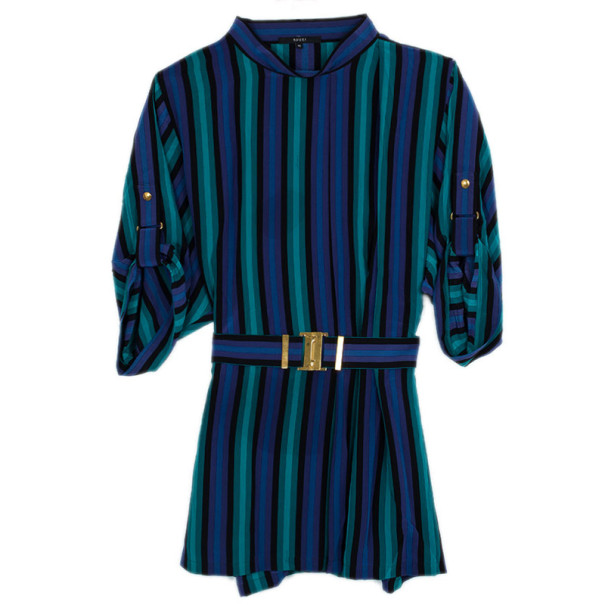 Gucci Striped Satin Belted Dress S