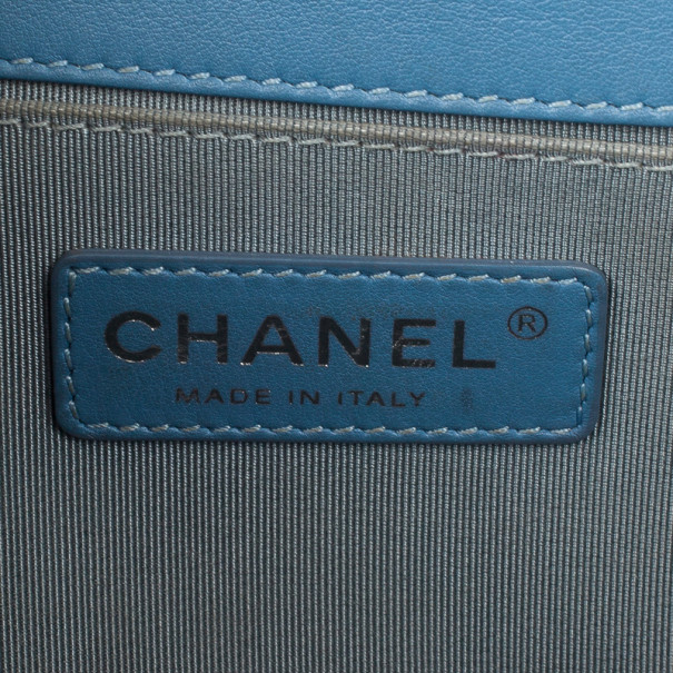 Chanel Blue Quilted Medium Boy Bag