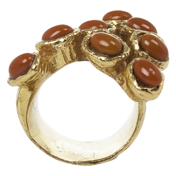 Saint Laurent Goldtone Arty Dot Ring Size 56