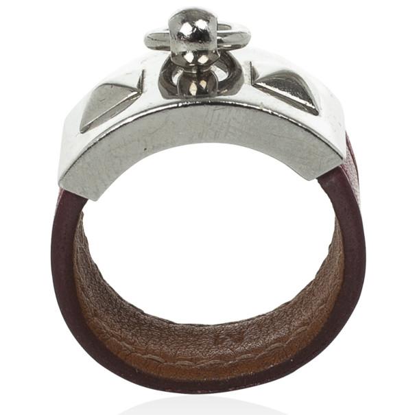 Hermes Collier de Chien Leather Ring Size 57
