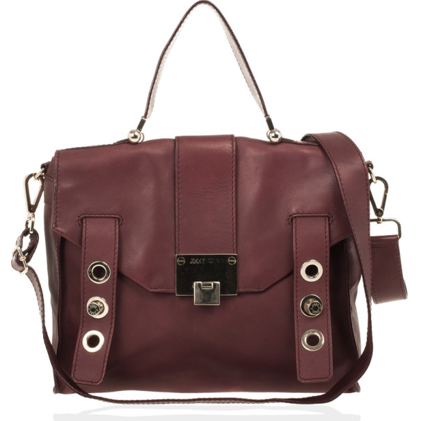 Jimmy Choo Red Cashmere Calf Leather Pauline Messenger Satchel Bag