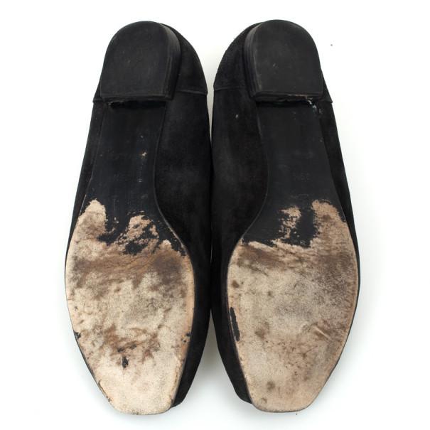 Louis Vuitton Black Open Toe Butterfly Ballet Flats Size 39.5