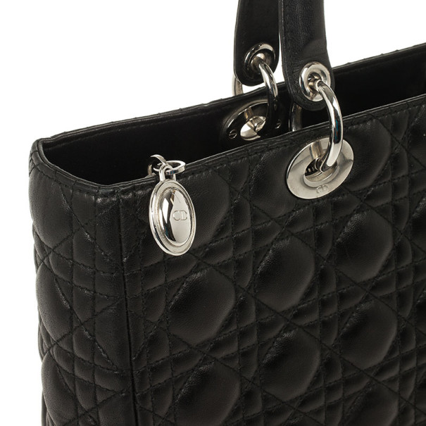 Christian Dior Black Lambskin Lady Cannage Large Bag