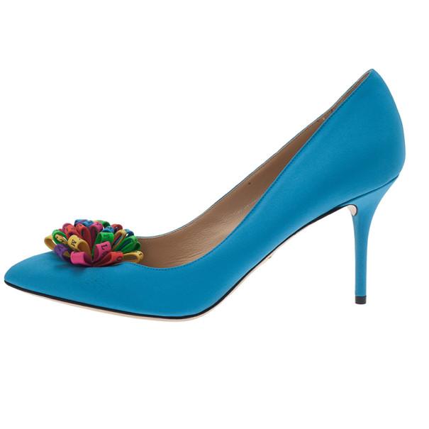 Charlotte Olympia Blue Satin Pompom Pumps Size 40