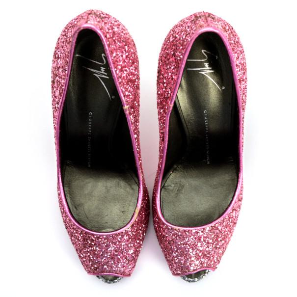 Giuseppe Zanotti Pink Glitter Peep Toe Pumps Size 37.5