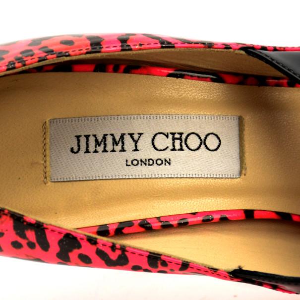 Jimmy Choo Pink Leopard Print Patent 'Gesture' Platform Pumps Size 37
