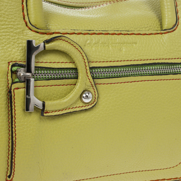 Salvatore Ferragamo Apple Green Leather Boston Bag