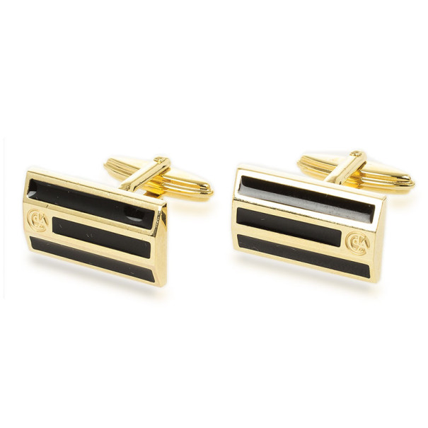 Caran D'Ache Black Enameled Gold Plated Cufflinks