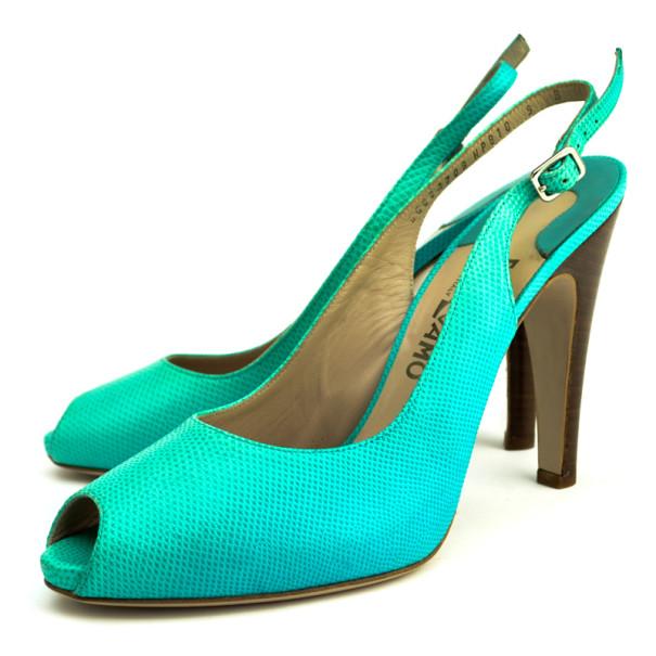 Salvatore Ferragamo Turquoise Embossed Peep Toe Slingback Sandals Size 39.5