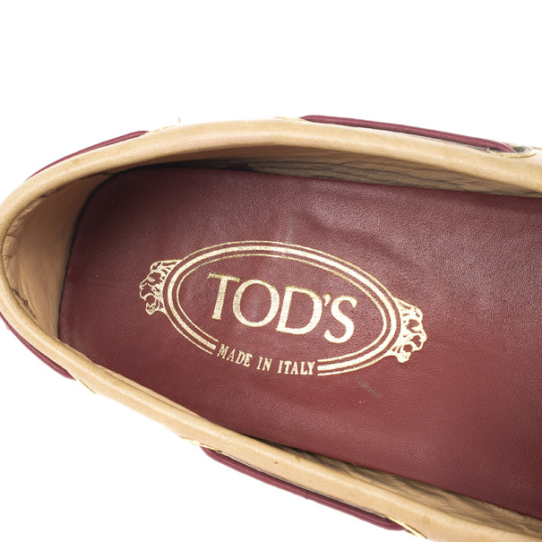 Tod's Brown Leather Bow Loafers Size 38.5