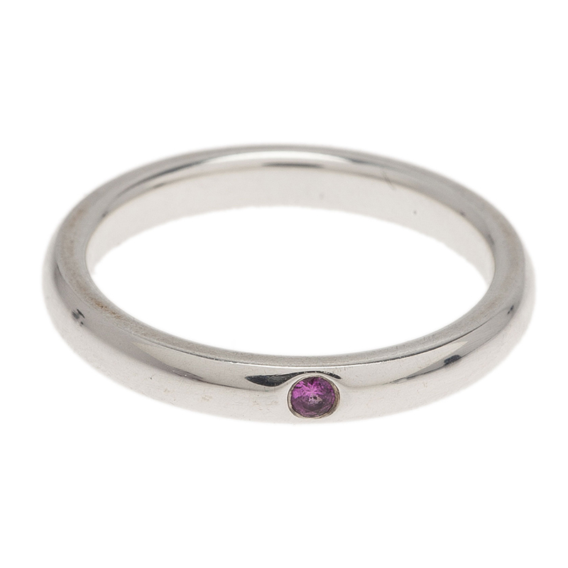 Tiffany & Co. Elsa Peretti Pink Sapphire Silver Band Ring Size 50.5