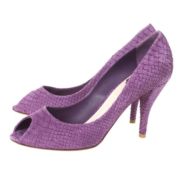 Dior Purple Python Embossed Leather 'Miss Dior' Peep Toe Pumps Size 38