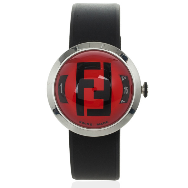 Fendi 8010 G SS Rubber Unisex Wristwatch 38 MM