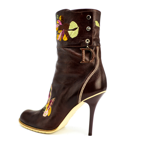 Christian Dior Brown Leather Embroidered Ankle Boots Size 40