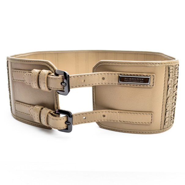 Burberry Beige Leather Double Buckle Wide Belt 80 CM
