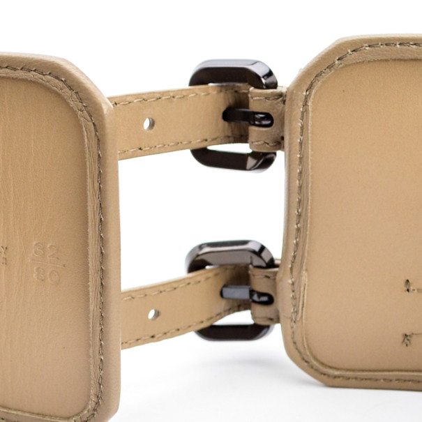 Burberry Beige Leather Double Buckle Wide Belt 80 CM
