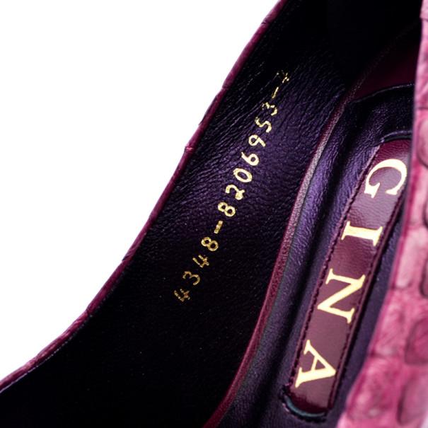 Gina Maroon Python Embossed Leather Platform Pumps Size 37