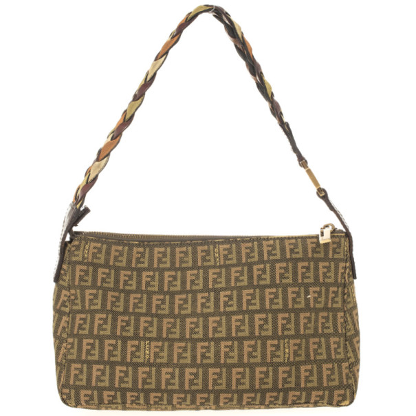 Fendi Zucchino Braided Handle Shoulder Bag