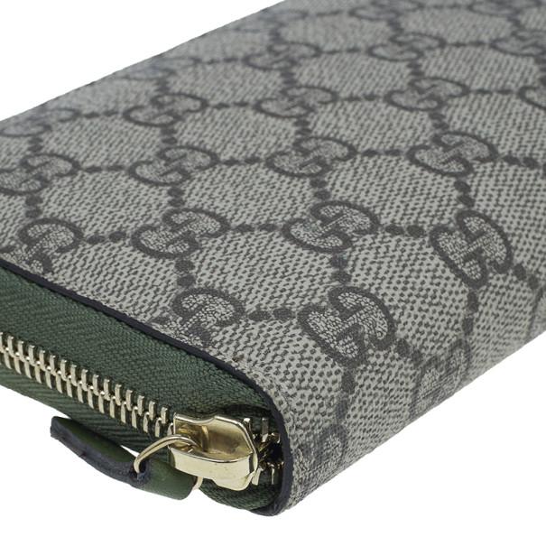Gucci Beige Canvas Nice GG Supreme Zip Around Wallet