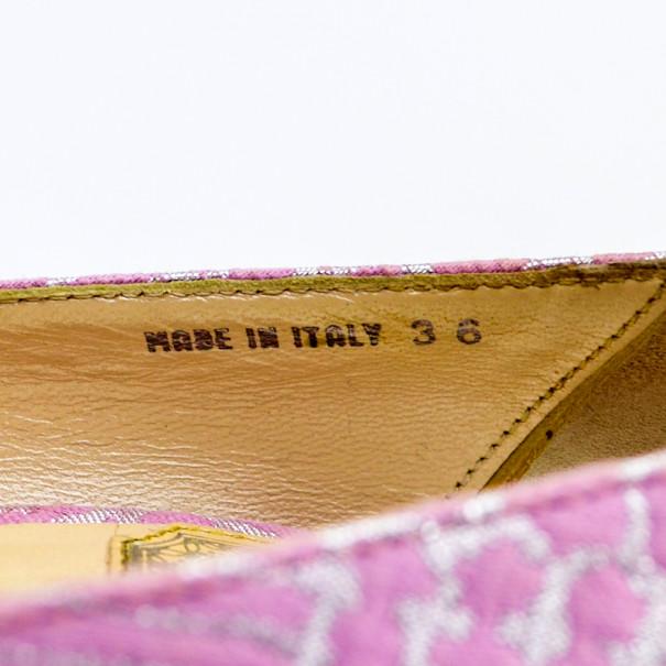 Christian Dior Pink Brocade Miss Dior Peep Toe Platform Pumps Size 36