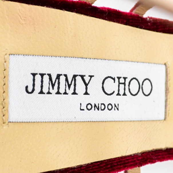Jimmy Choo Red Velvet & Gold Leather 'Maury' Strappy Sandals Size 41