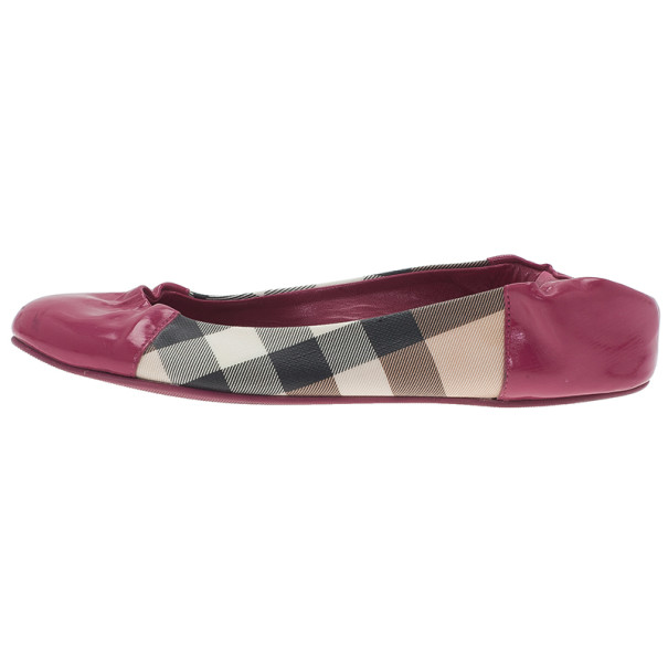 Burberry Pink Patent Cap Toe House Check Ballet Flats Size 36.5