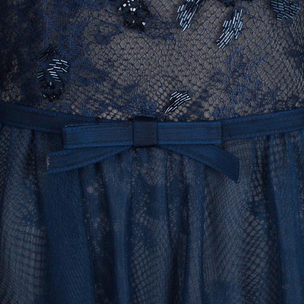 Tadashi Shoji Teal Lace Embellished Dress S