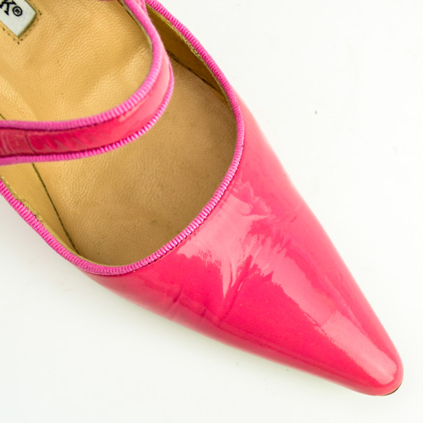 Manolo Blahnik Pink Patent Pointed Toe 'Campari' Mary Jane Pumps Size 37