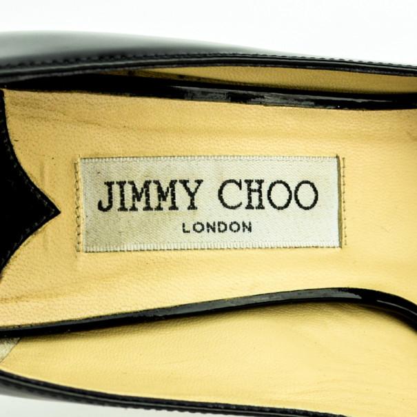 Jimmy Choo Black Patent Leather 'Luna' Peep Toe Platform Pumps Size 37.5
