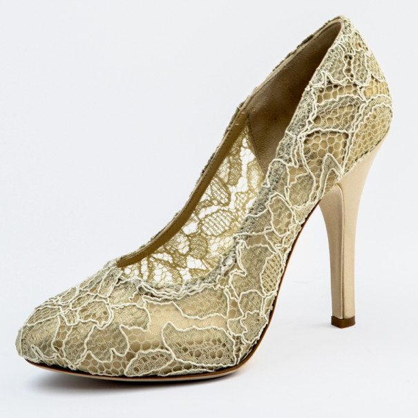 Dolce and Gabbana Semi Sheer Lace and Satin Platform Pumps Size 37.5
