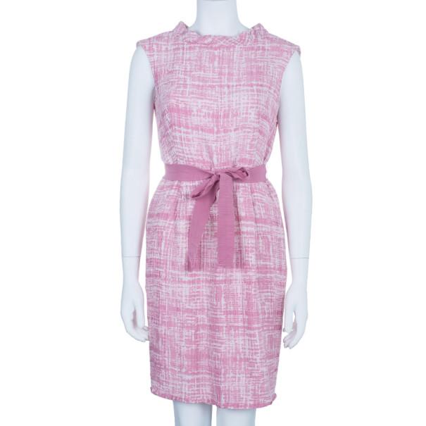 CH Carolina Herrera Pink Printed Sheath Dress M