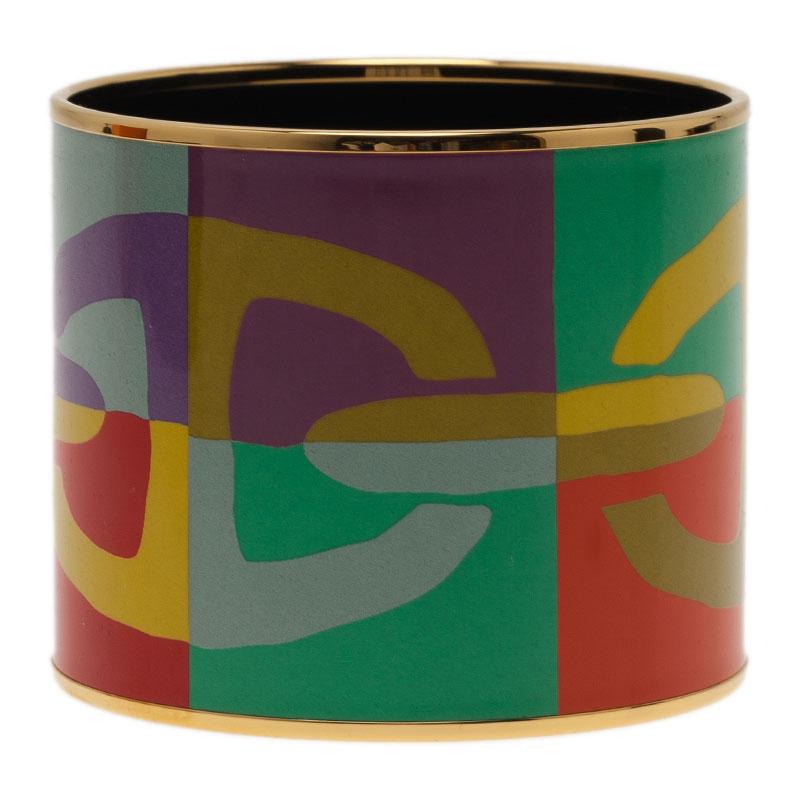Hermes Mega Printed Multi Color Gold Plated Bangle Bracelet