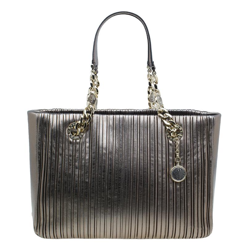 Bvlgari Metallic Silver Nappa Leather Plisse Shopping Tote