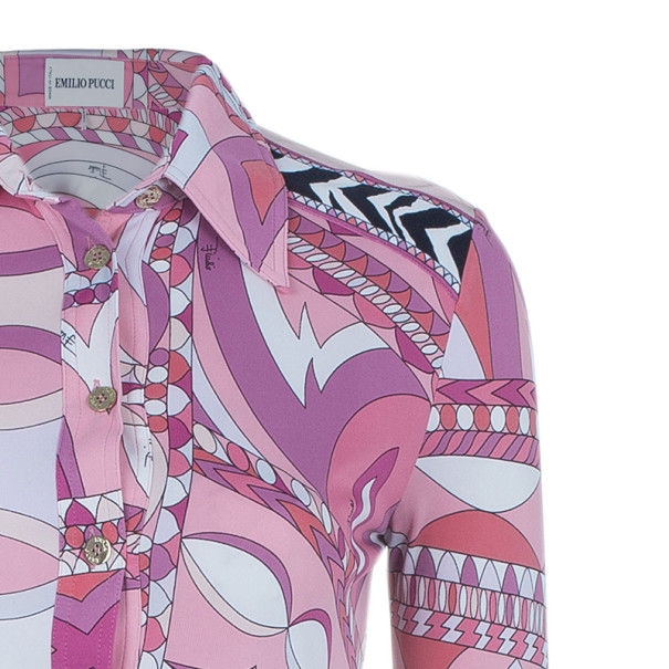 Emilio Pucci Pink Abstract Printed Shirt Dress S