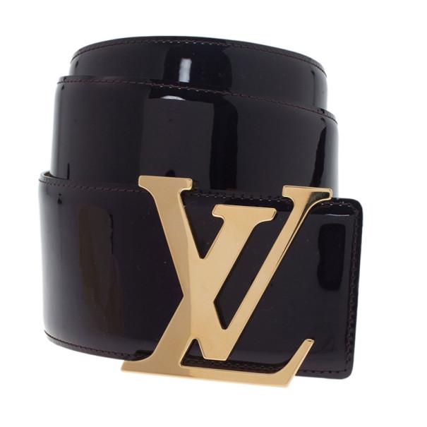 Louis Vuitton Black Leather Initials Belt 75CM