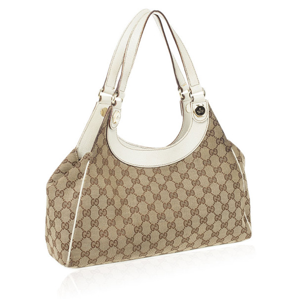 Gucci Beige and Ivory Monogram Charmy Hobo