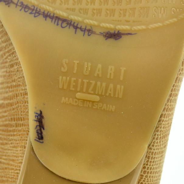 Stuart Weitzman Beige Lizard Embossed Logosavoir Peep Toe Pumps Size 37
