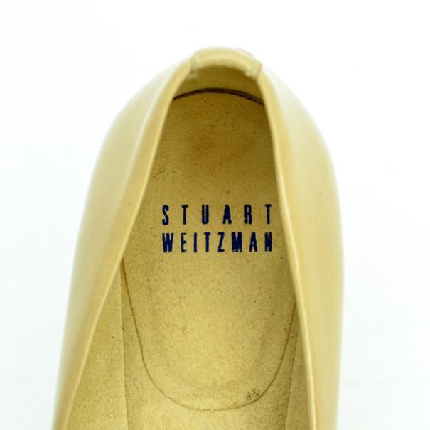 Stuart Weitzman Nude Patent Lola Pumps Size 36.5