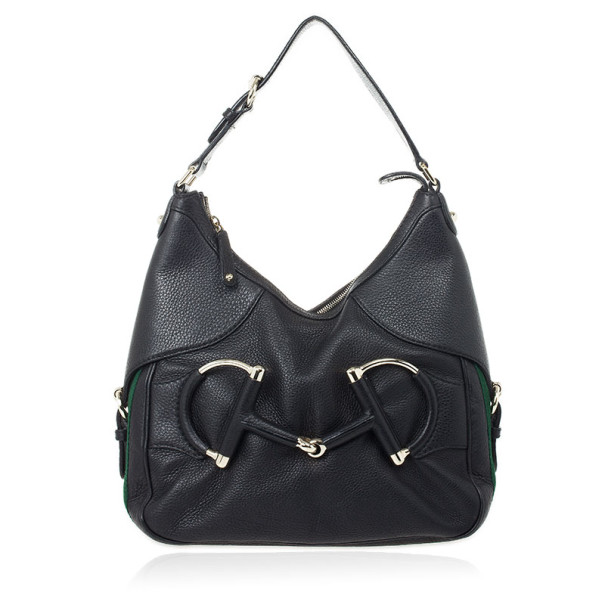 Gucci Black Leather Heritage Hobo