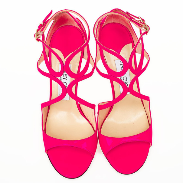 Jimmy Choo Pink Patent Leather Lance Strappy Sandals Size 37.5