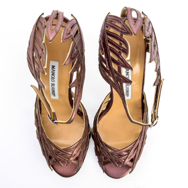 Manolo Blahnik Purple Metallic Strappy Sandals Size 36.5