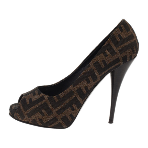 Fendi Zucca Canvas Peep Toe Pumps Size 38
