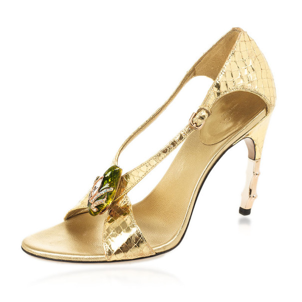 Gucci Gold Embellished Sandals Size 36