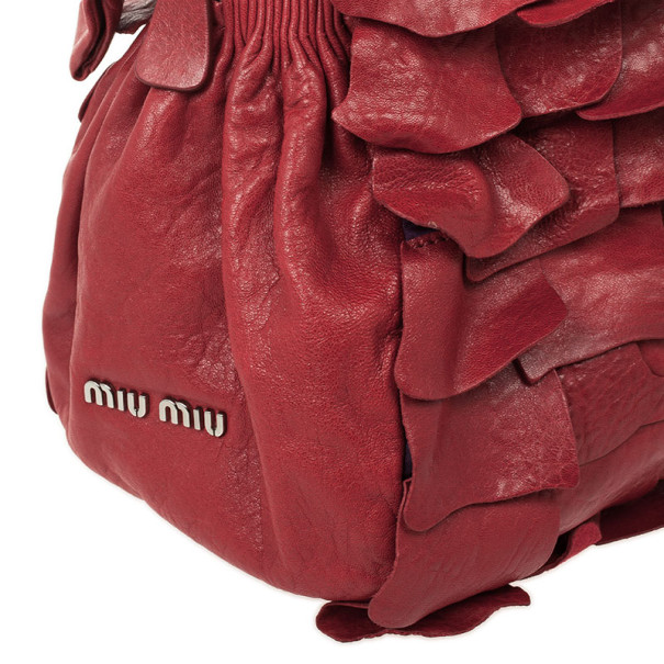 Miu Miu Red Leather Nappa Patch Tote