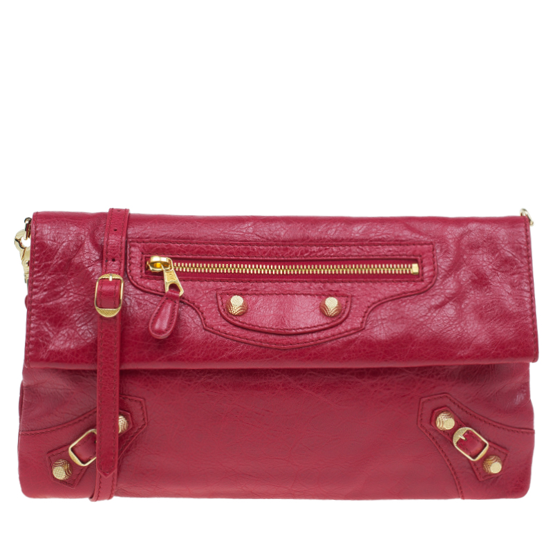 Balenciaga Red Lambskin Leather Giant GH Envelope Strap Clutch